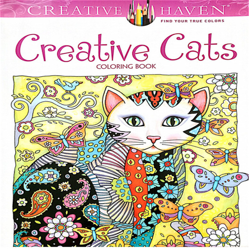 24 Pages Creative Cats Coloring Book For Kids Antistress Secret Garden Series Relieve Stress Kill Time