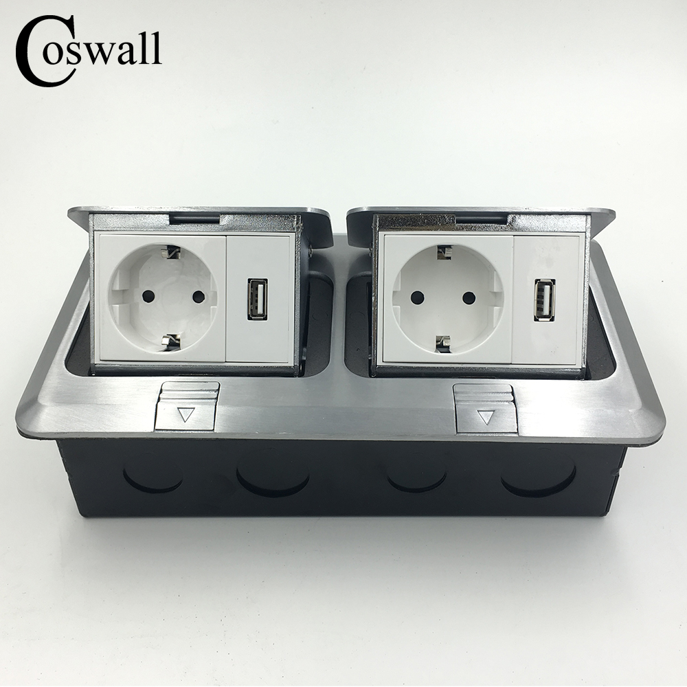 Manufacturer All Aluminum Panel Pop Up Floor Socket EU Standard Electrical Dual...