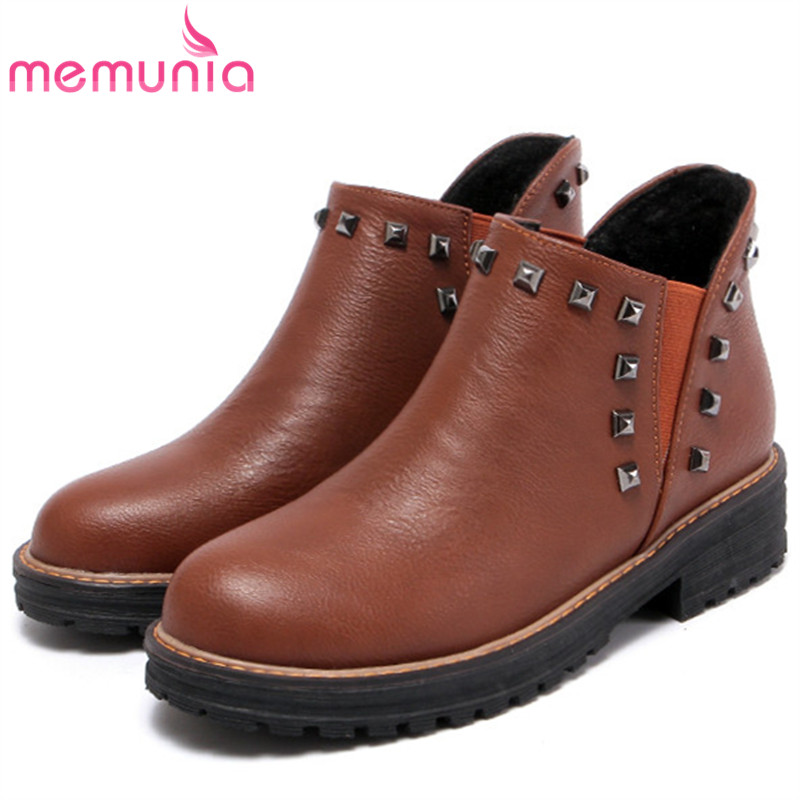 MEMUNIA Rivets PU platform boots female in spring autumn med heels shoes woman ankle boots for women fashion boots size 34-43 memunia hot sale motorcycle boots in spring autumn high heels shoes woman ankle boots punk fashion boots female big size 34 45