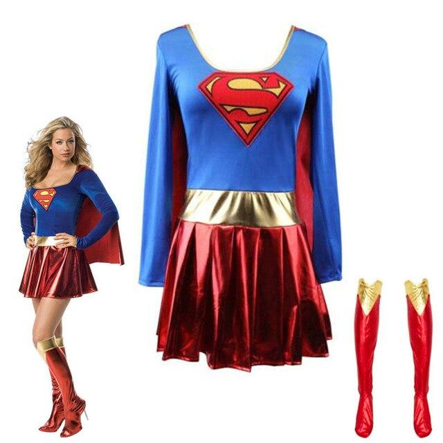 COSREA Superwoman Dress Superman Cosplay Costumes For Adult Girls Halloween Super Girl Suit Superhero Wonder Woman Super Hero