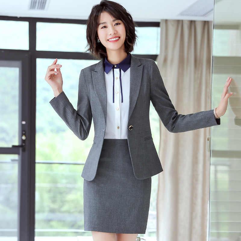 631fa1d729b8 El 2018 de las mujeres de oficina de negocios trajes de falda para las  mujeres ropa
