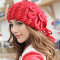 Para mujer sombrero de invierno cálido sombrero de lana de invierno de corea sombreros tejidos a mano de lana para mujer gorra de béisbol gorra de hilo grueso envío gratis