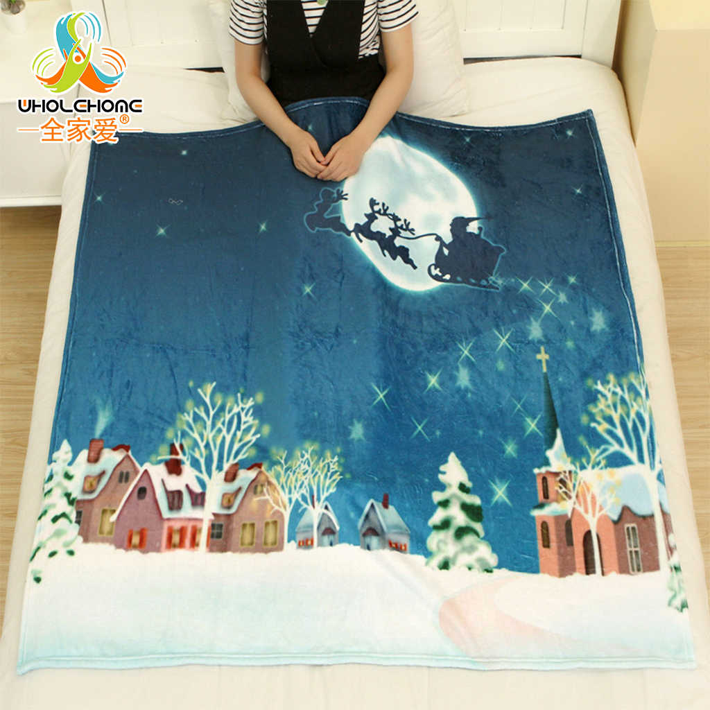 Flannel Fleece Fabric Blankets New Year Decoration Christmas Gift Comfortable Warm Soft Bedroom Home Textile 3 Sizes 10 Colors