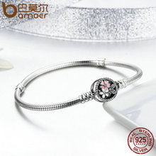 Authentic 925 Sterling Silver Cherry Blossom Snake Chain Bracelet