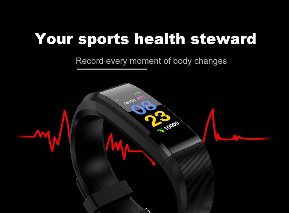 115 plus Smart watch Fitness bracelet Tracker Step Counter smartBand Heart rate monitoring Wristband pk ID107 fit bit miband