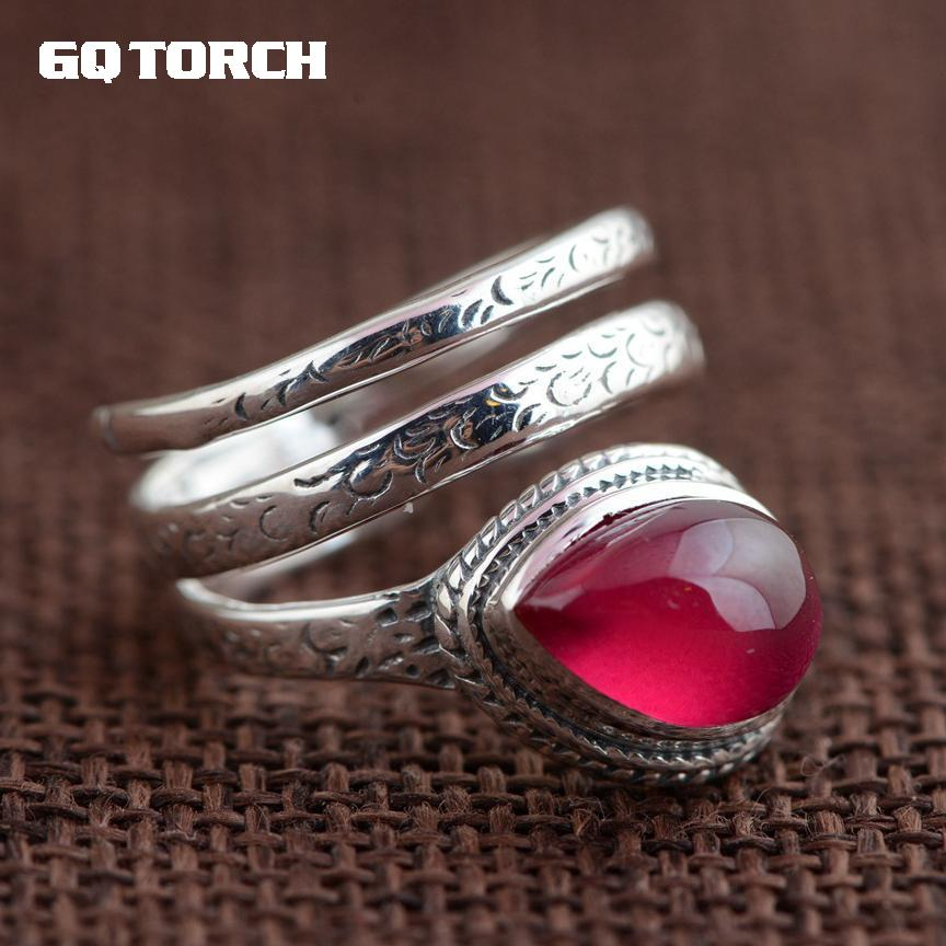 GQTORCH Natural Gemstone Red Ruby Rings for Women 925 Sterling Silver Snake Ring Vintage Multi Layers Opening Handmade Jewelry red snake fashion ring handmade dark blue with silver foil pearl texture glossiness murano glass rings