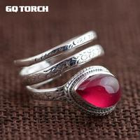 GQTORCH Natural Gemstone Red Ruby Rings for Women 925 Sterling Silver Snake Ring Vintage Multi Layers Opening Handmade Jewelry