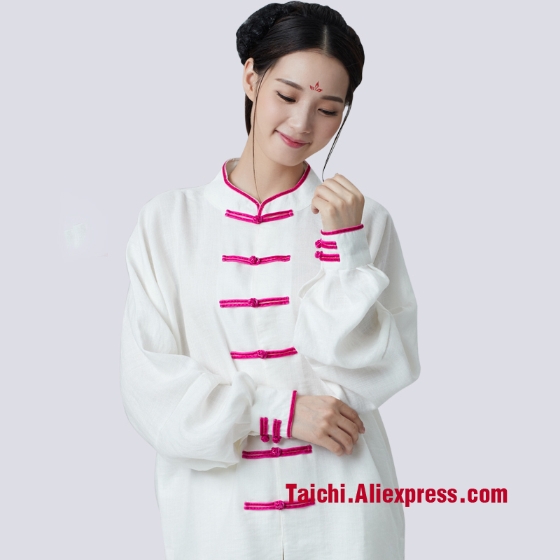 New Pattern Tai Chi Uniform Long Sleeve Boxing Clothing Wushu Kung Fu Martial Art Performance Suit White Blue Green Pink