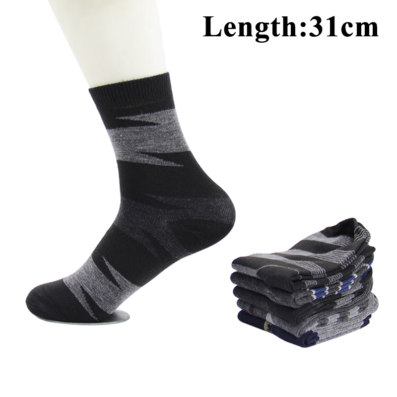 5 Pairs Men Large Size   Socks   Length 31CM Casual Striped Plaid Long   Socks   Autumn Summer Comfort Mature Male Cotton   Sock   Sox Meias