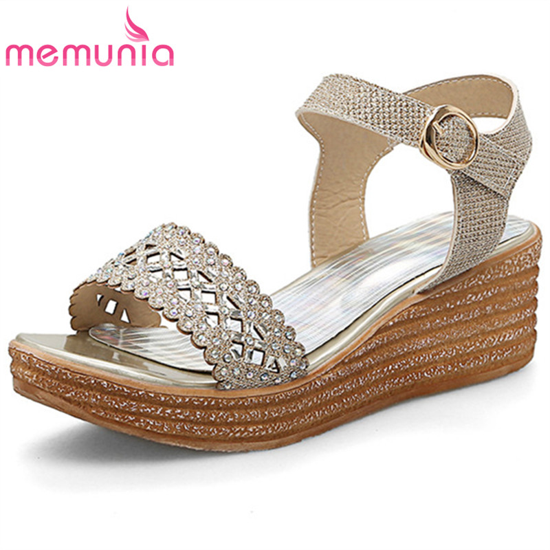 MEMUNIA Contracted shoes woman in summer women shoes sandals platform wedges high heels shoes 5.5cm fashion party big size 34-42 phyanic 2017 gladiator sandals gold silver shoes woman summer platform wedges glitters creepers casual women shoes phy3323