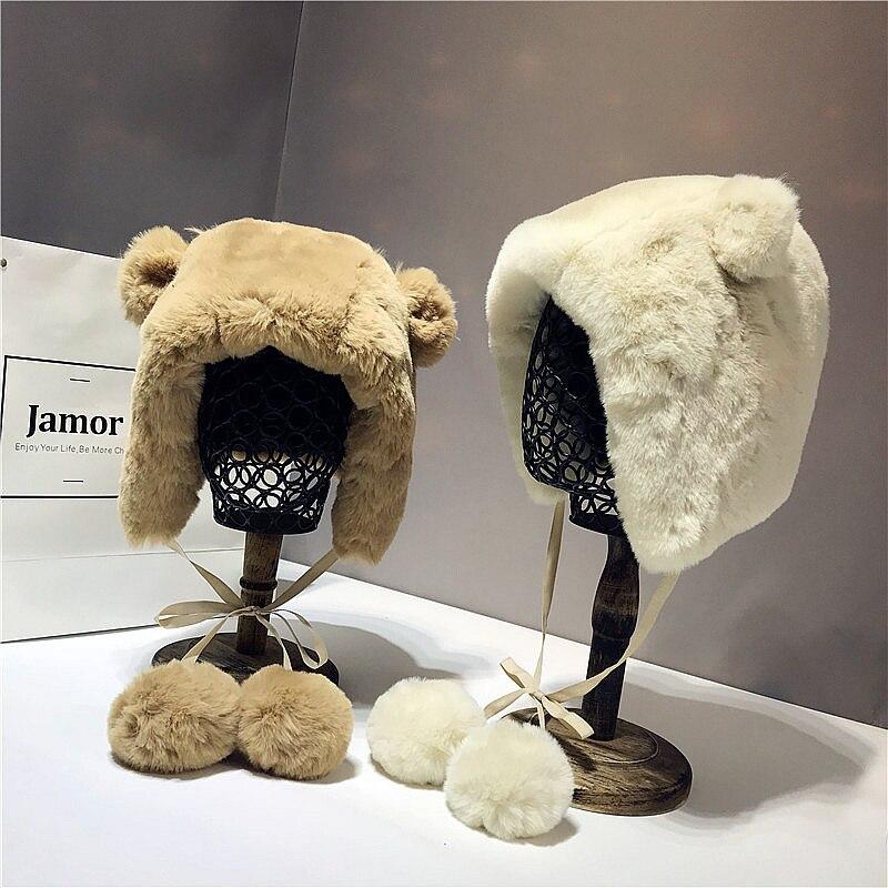 Moelleux plus chaud hiver chapeaux mignon dessin animé ours oreilles en peluche chapeau décontracté animaux casquettes crânes épais Pom Poms balle Gorros Mujer Invierno