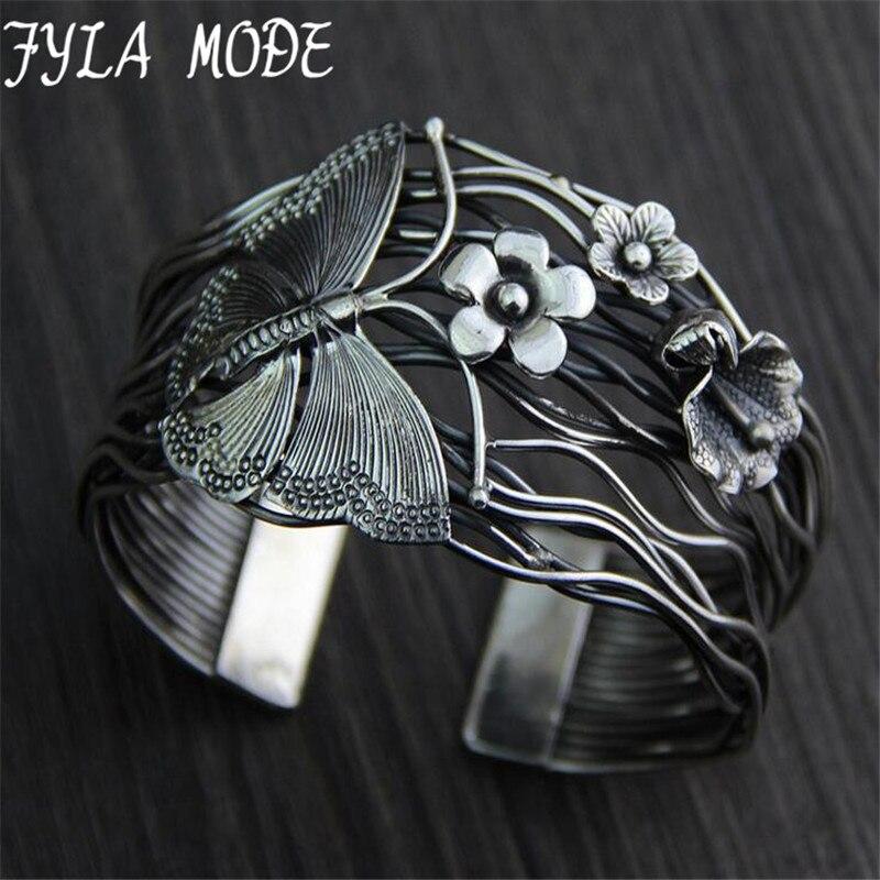 Fyla Mode Europe Selling 925 Thai Silver Hollow Opening Bracelet Geometry Butterfly Flowers Bracelets Bangle 40mm