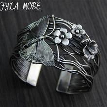 Fyla Mode Europe Selling 925 Thai Silver Hollow Opening Bracelet Geometry Butterfly Flowers Bracelets Bangle 40mm Width 56G