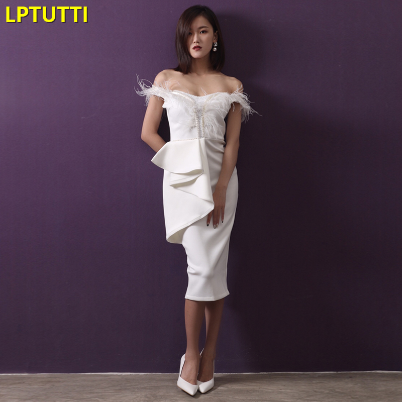 LPTUTTI Beading Feather Tassel New Sexy Woman Social Festive Elegant Formal Prom Party Gowns Fancy Short Luxury   Cocktail     Dresses