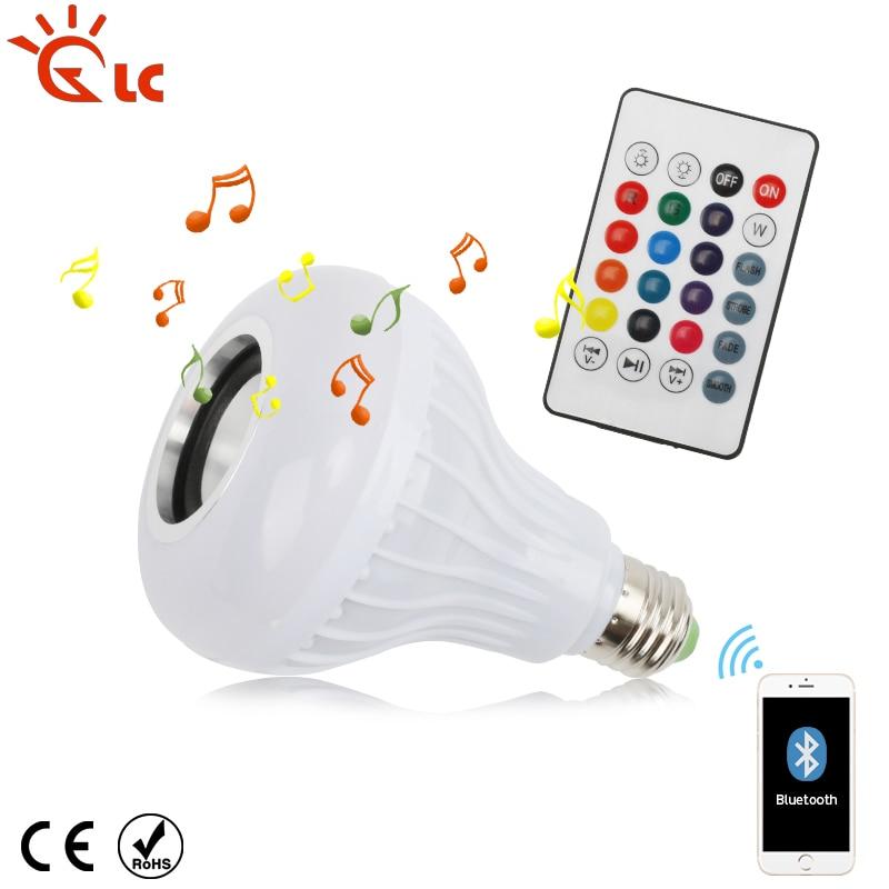 E27 Smart LED Lamp Wireless RGB Bulb Bluetooth Lampada Speaker Lamparas RC Ampoule 85V-265V Bombillas Light Music Play