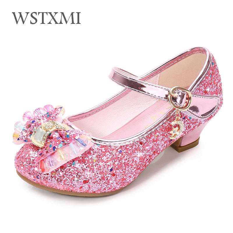 Children Princess Shoes For Girls Party High Heel Sandals Fashion Flower Kids Glitter Leather Shoes Butterfly Knot Dress Wedding