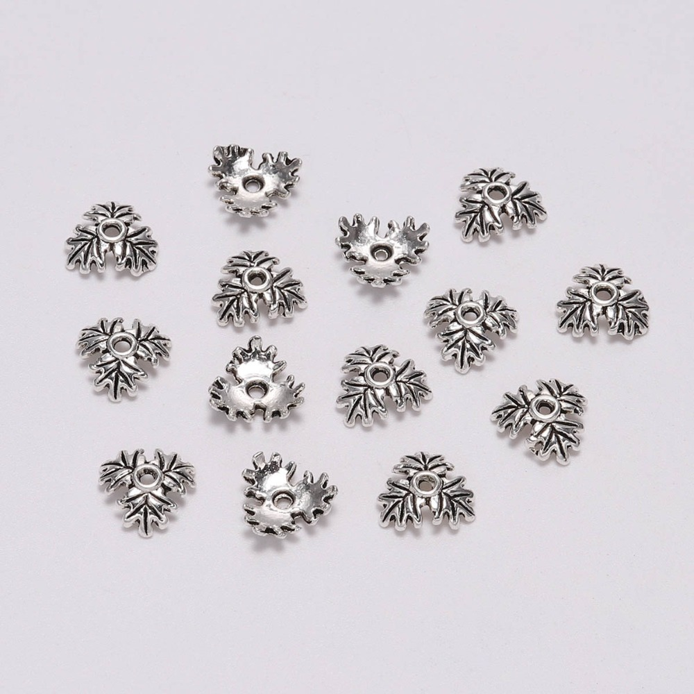 50pcs/Lot 10mm 3 Petals Silver Hollow Flower Leaf Loose Sparer Apart End Bead Caps For DIY Jewelry Making Findings Accessories