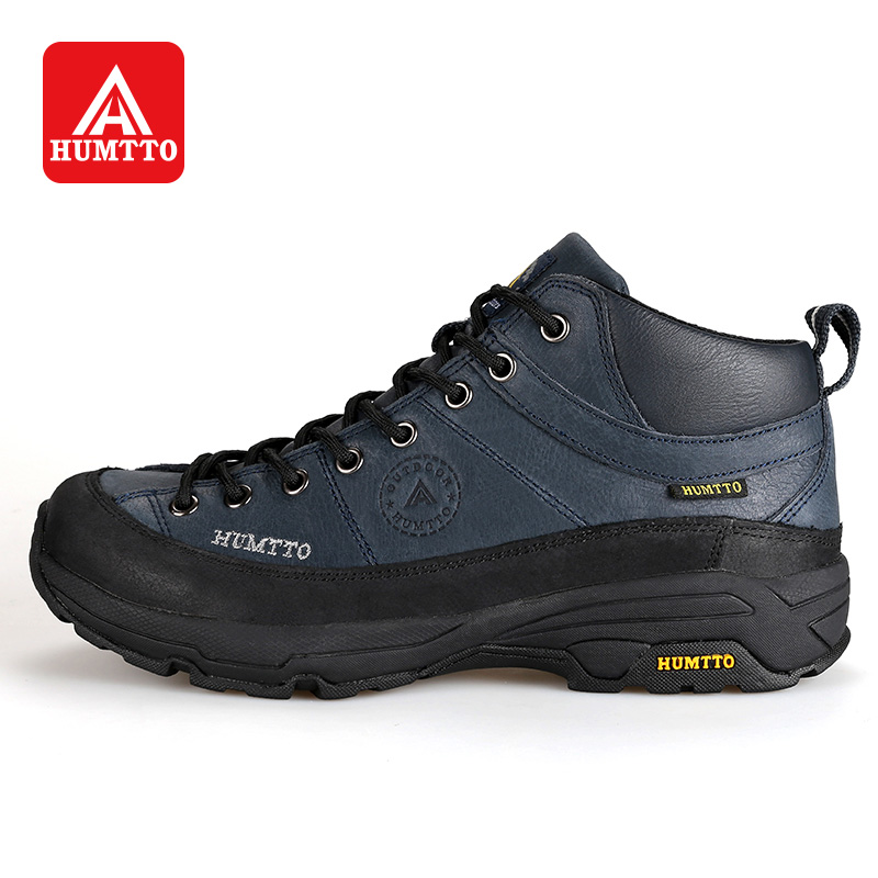 HUMTTO Winter Outdoor Hiking Shoes Men Lace-Up Leather Climbing Boots Rubber