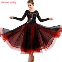 Ballroom Dance Dresses Lady's Long Sleeve Diamond Big Swing Dress Waltz Dancing Clothes Women Ballroom Competition Dance Dress