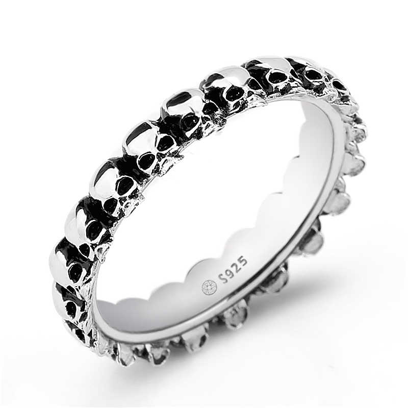 Biker Goth Oxidised Real 925 Sterling Silver Stacking Skull Band Rings Jewelry