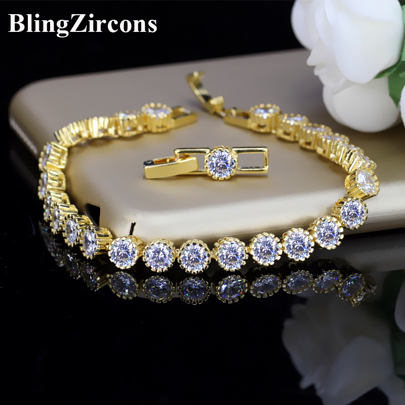 BeaQueen Brand Round Cubic Zirconia Stone Tennis Bracelets Bangles Luxury Yellow Gold Color Women Jewelry for Gift B052