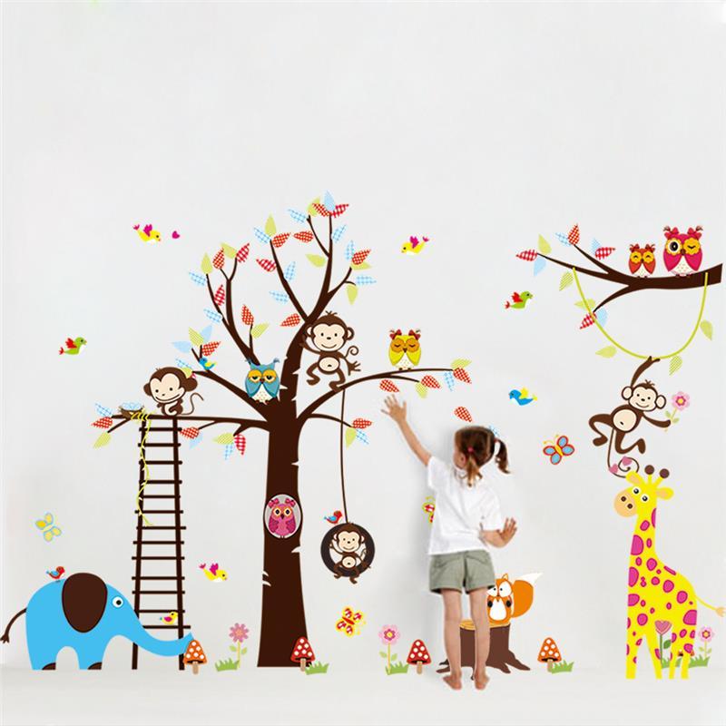 Grande árvore de adesivos de parede de animais para crianças decoração do quarto 1213. macaco coruja jardim zoológico bebê dos desenhos animados crianças diy início decal mural art 3.0