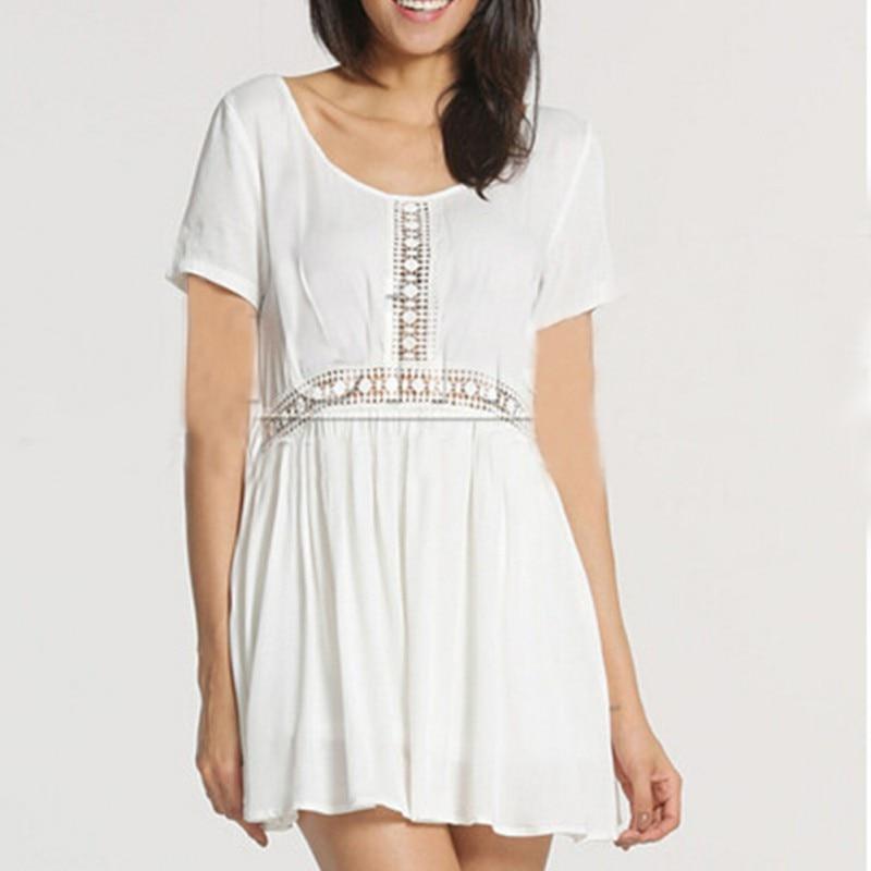 Women Crew Neck Lace White Chiffon Dress Hollow Casual Lady Dress