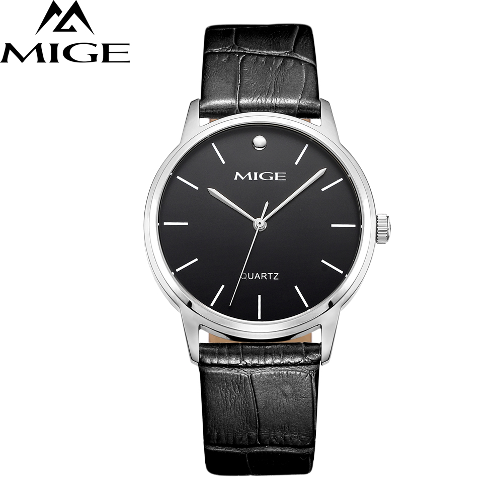 Mige Real Brand New 2017 Hot Sale Waterproof Quartz Man Watch Black Leather Strap Steel Case Couples Watch mige 2017 new hot sale lover man watch rose gold case white casual ultrathin waterproof relogio masculino quartz mans watches
