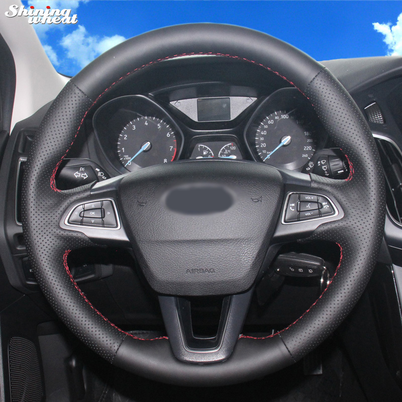 Shining wheat Hand stitched Black Leather Car Steering Wheel Cover for Ford Focus 3 2015