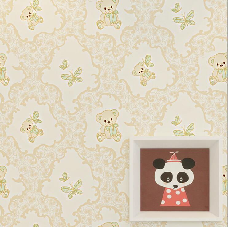 Cartoon Lovely Bear Pattern Wallpaper Roll Happy Children S Room