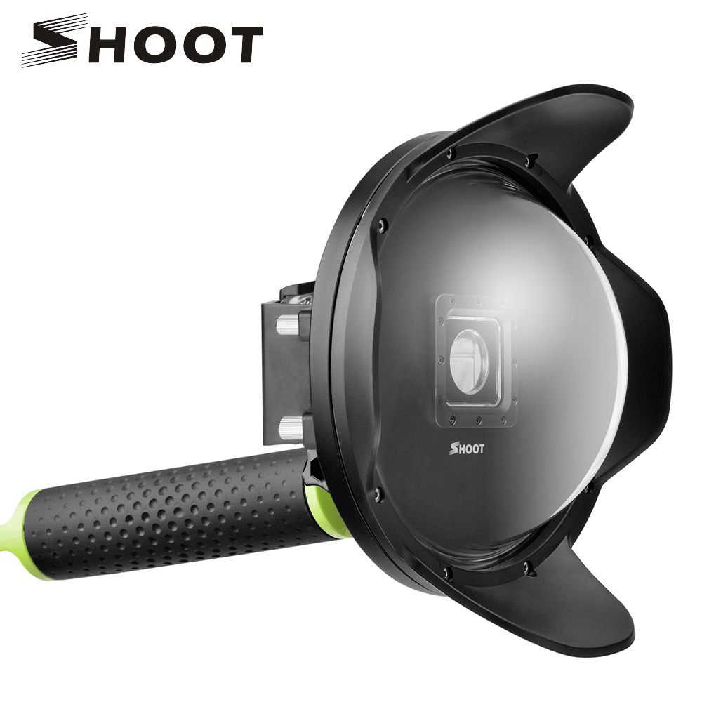 SHOOT 6 inch Anti-exposure Dome Port for Xiaomi Yi 4K 4K+ Lite Action Camera with With Float Handle Waterproof Case Yi Accessory waterproof aqua box водонепроницаемый кейс для xiaomi yi action 4k black