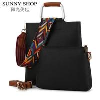 SUNNY SHOP Designer Handbags High Quality 2 Bags Set Famous Brand Casual Shoulder Crossbody Bag Vintage