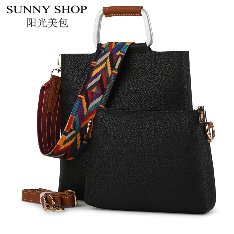 SUNNY SHOP Designer Handbags High Quality 2 Bags/ Set Famous Brand Casual Shoulder Crossbody Bag Vintage Women Messenger Bags