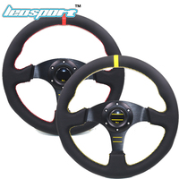 high quality 13 (330mm) For OMP Racing Steering Wheel leather suede yellow or red line game flat Steering Wheel