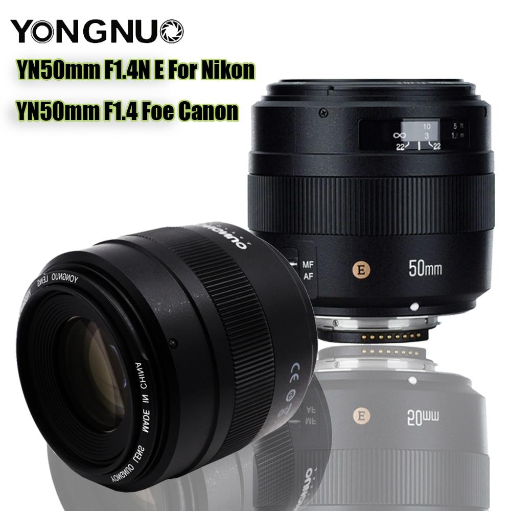 Original YN50mm Lens YN50mm F1.4 F1.4N E Standard Prime Lens Large Aperture Auto Focus Lens for Canon EOS Foe Nikon DSLR Camera top deals yongnuo yn50mm f1 8 standard prime lens large aperture auto focus lens for canon ef mount rebel aps c dslr camera