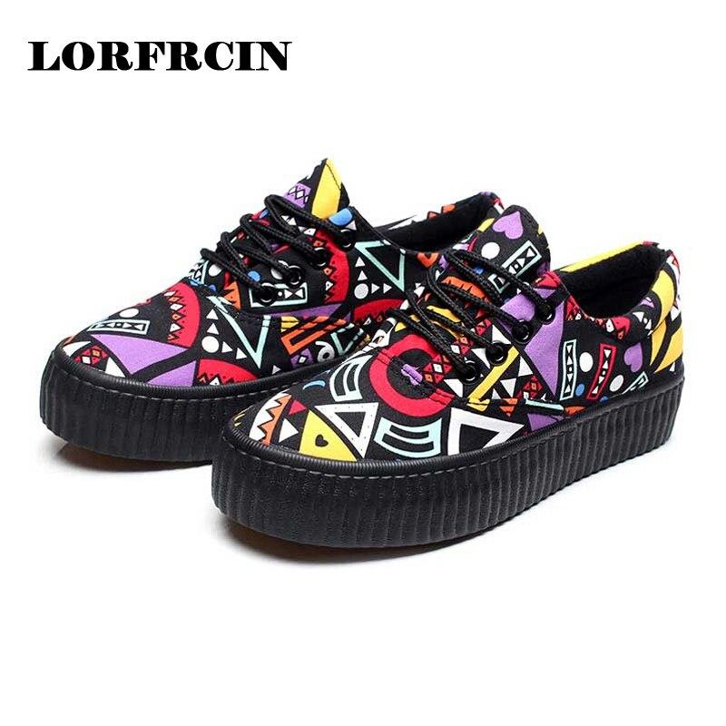 Zapatos de lona Plataformas Lace Up Mujeres Zapatos Casuales Colores Mezclados M