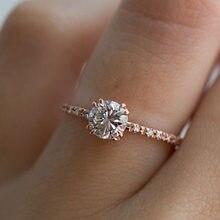 18K pierścionek z różowego złota osiem serc osiem strzałek kobiet pierścień dla kobiet diament Anillos De Bizuteria Bague ślub VVS1 pierścionki z diamentem