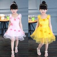 2017 summer girls dress baby girl Eugen seven flower children dance dress size 1-4 years