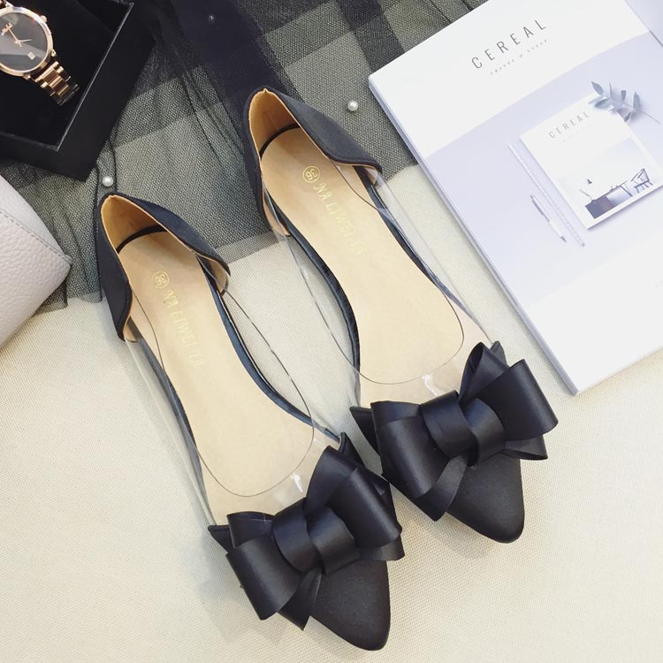ФОТО 2017 Summer New Pointed Toe Flat Shoes Satin With Transparent Shallow Mouth Sweet Bow Flats Ballerina Shoes For Women
