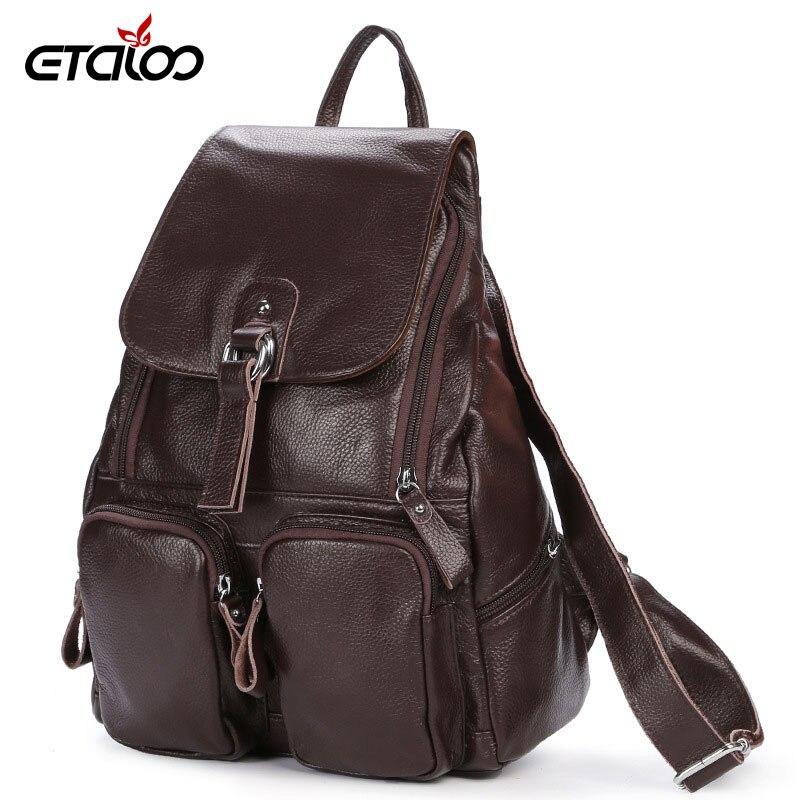 Женская сумка высокого качества, новинка 2018 года, кожаный женский рюкзак, первый слой кожи, рюкзак с карманами