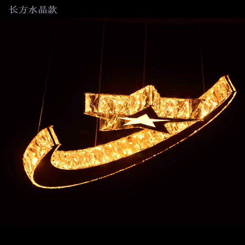 T Luxury Moon Star Creative Modern Pendant Light Crystal Fashion Lamps Led Chip For Dinging Room Living Room Home LIght DHL free bicycle shape led modern crystal pendant lamps unique creative latest popular style led pendant light free shipping