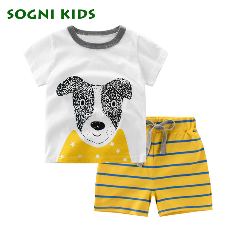 SOGNI KIDS 2017 new summer baby boys clothes cartoon pattern clothing set t-shirt + pants Cotton Children's Clothes Trouses Tops 2pcs children outfit clothes kids baby girl off shoulder cotton ruffled sleeve tops striped t shirt blue denim jeans sunsuit set