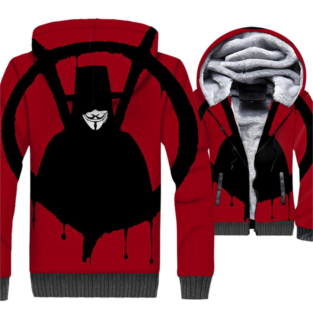 V for Vendetta Hoodie 3D Jacket Fitness Hooded Sweatshirt 2018 New Design Winter Thick Fleece Warm Zipper Coat Cool Streetwaer