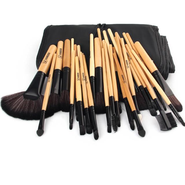32 unids Pinceles de Maquillaje Kits Powder Blush Fundación Sombra de Ojos Delineador de Labios Oro Cepillo Cosmético Cepillo Cosmético Kit de Herramientas