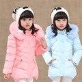 Niñas chaqueta de abrigo chaquetas de invierno muchacha de los niños embroma la ropa pato abajo abrigos parka de corea para 4 ~ 14 año de cumpleaños nueva moda