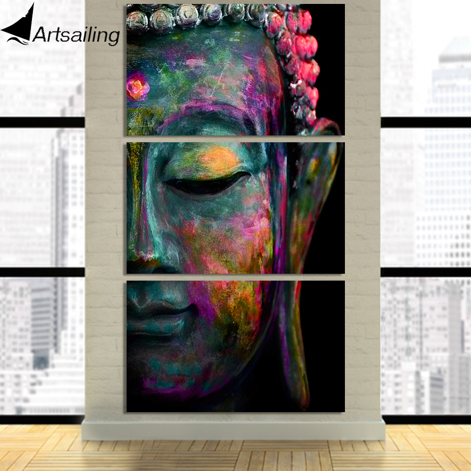HD Printed 3 Piece Canvas Wall Art Buddha Face Painting Buddha Statue Modular Wall Art Canvas Prints Free Shipping CU-2170D