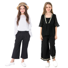 цена Teenage Girls Clothing Set 2019 Summer Lace T-shirt Wide Leg Pants Jeans Suit Tracksuit  Children Clothes Kids Costume 12 Year