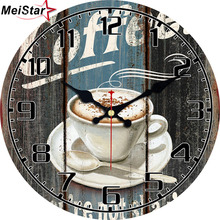 hot deal buy meistar fashion round wall clocks cafe design silent home office cafe wall decoration clocks home art decorative wall clocks