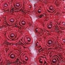 24 шт 3 см пены Мини Роза Жемчужная бусинка искусственные цветы