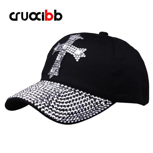Brand Baseball Cap Women Unisex with Rhinestones Cross Shape Bone Girls  Casual Hat Crystal Rivet Caps 680145f0a5cc